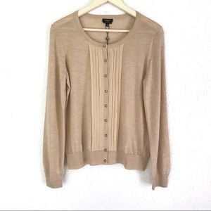 TALBOTS Tan Merino Wool Silk Trim Cardigan Sweater